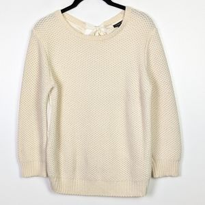 Ann Taylor Crochet Front Woven Back Sweater Size S